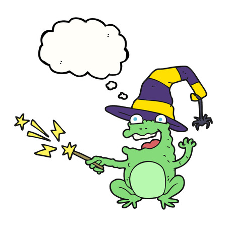 casting: freehand drawn thought bubble cartoon toad casting spell