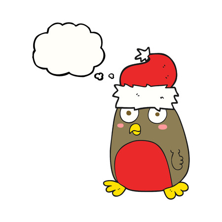 robin: freehand drawn thought bubble cartoon christmas robin Illustration