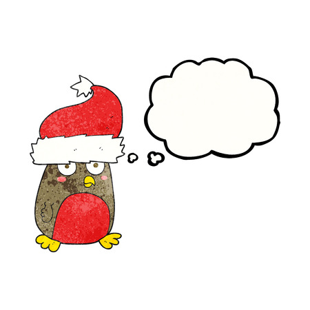 christmas robin: freehand drawn thought bubble textured cartoon christmas robin wearing christmas hat