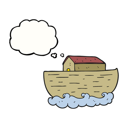 noahs: freehand drawn thought bubble cartoon noahs ark