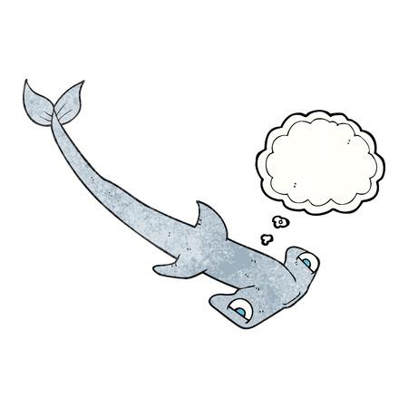 pez martillo: a mano alzada pensamiento dibujado burbuja de tiburón martillo de dibujos animados con textura