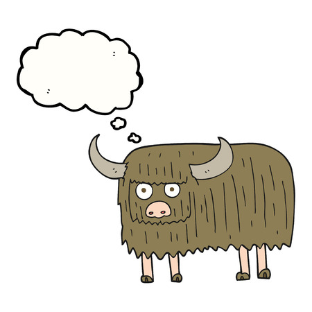 hairy: freehand drawn thought bubble cartoon hairy cow