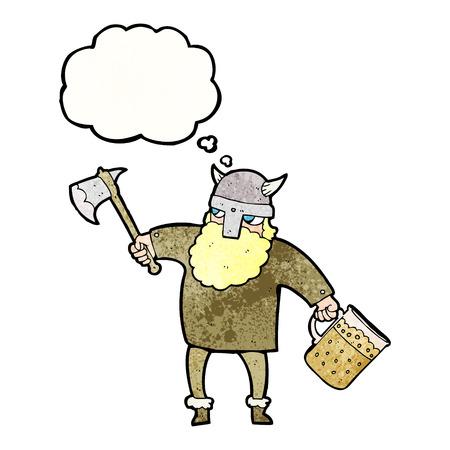 tankard: freehand drawn thought bubble textured cartoon drunk viking Illustration