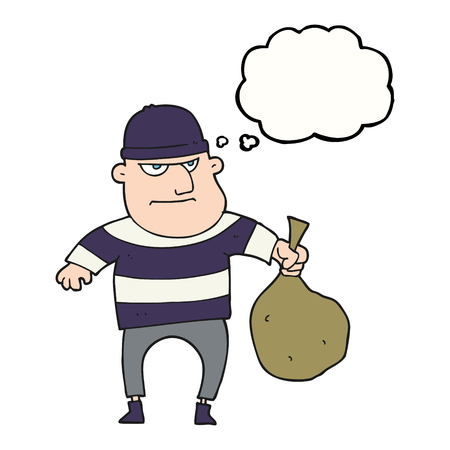 burglar: freehand drawn thought bubble cartoon burglar with loot bag Illustration