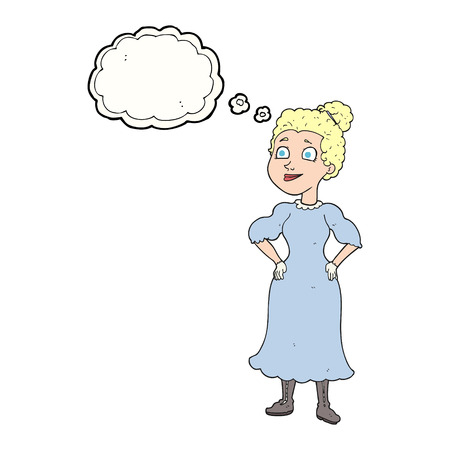 victorian woman: freehand drawn thought bubble cartoon victorian woman in dress