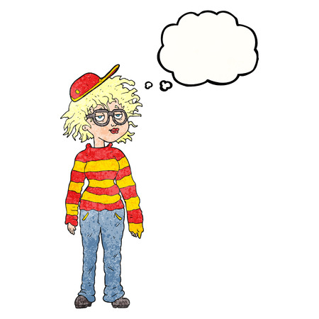 geeky: freehand drawn thought bubble textured cartoon geeky girl Illustration