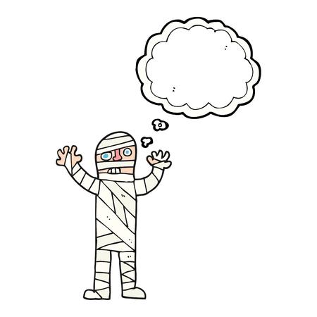 mummified: freehand drawn thought bubble cartoon bandaged mummy