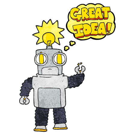 crazy: freehand drawn thought bubble textured cartoon robot with great idea