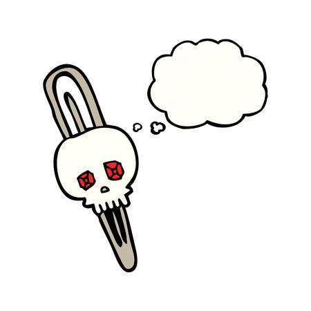 hairclip: freehand drawn thought bubble cartoon skull hairclip