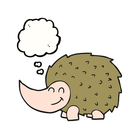 cartoon hedgehog: freehand drawn thought bubble cartoon hedgehog
