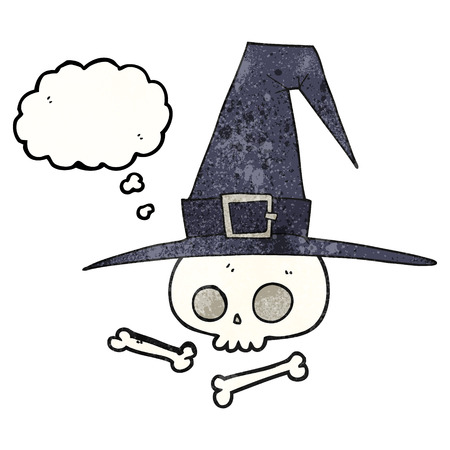 pointy hat: freehand drawn thought bubble textured cartoon witch hat with skull