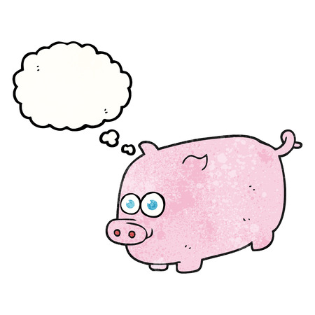 thought bubble: freehand drawn thought bubble textured cartoon pig