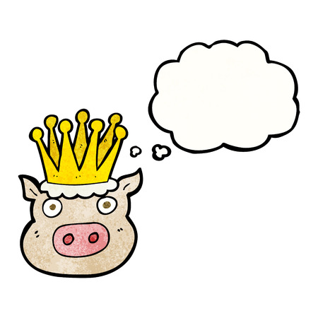 crowed: freehand drawn thought bubble textured cartoon crowned pig