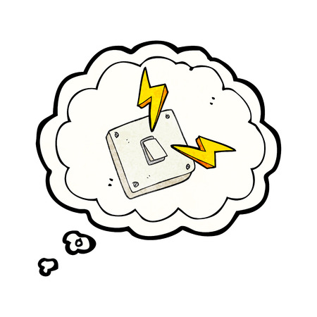 sparking: freehand drawn thought bubble textured cartoon sparking electric light switch Illustration