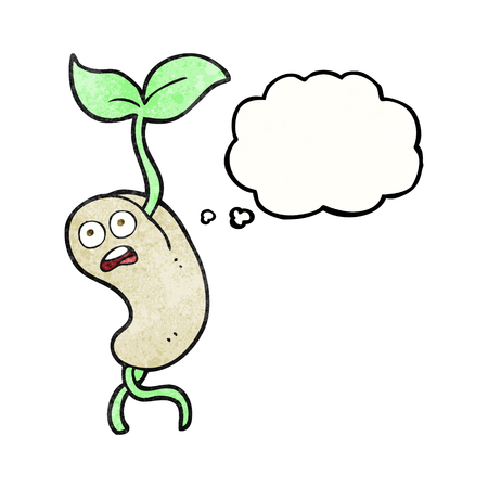 sprouting: freehand drawn thought bubble textured cartoon sprouting seed Illustration