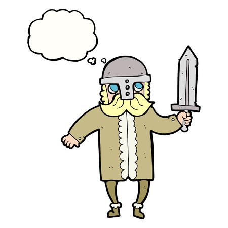 saxon: freehand drawn thought bubble cartoon saxon warrior