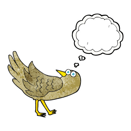 thought bubble: freehand drawn thought bubble textured cartoon bird Illustration