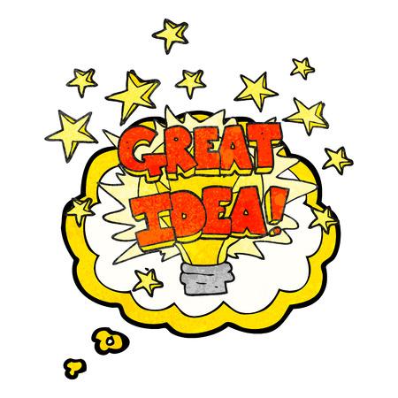 great idea: freehand drawn thought bubble textured cartoon great idea light bulb symbol