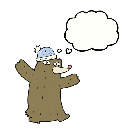 free thought: freehand drawn thought bubble cartoon bear wearing hat Illustration