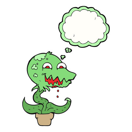 alien clipart: freehand drawn thought bubble cartoon monster plant