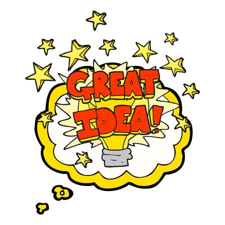 great idea: freehand drawn thought bubble cartoon great idea light bulb symbol