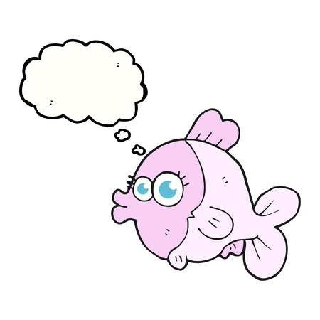 pretty eyes: funny freehand drawn thought bubble cartoon fish with big pretty eyes Illustration