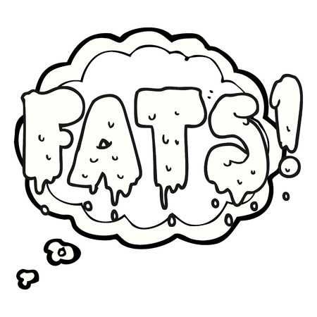 unhealthy thoughts: freehand drawn thought bubble cartoon fats word text