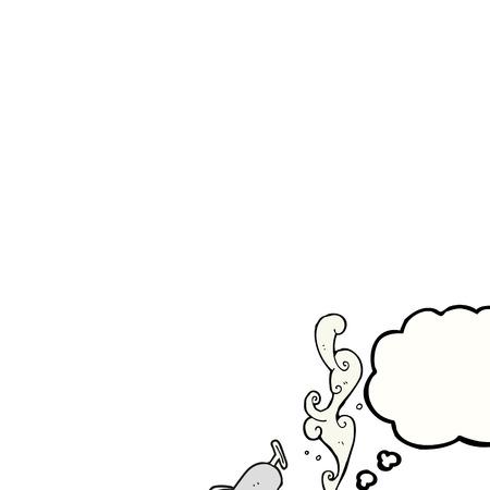 sardinas: dibujado a mano alzada de dibujos animados burbuja de pensamiento lata de sardinas