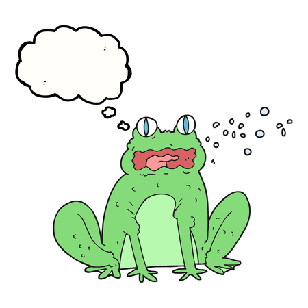 freehand drawn thought bubble cartoon burping frog