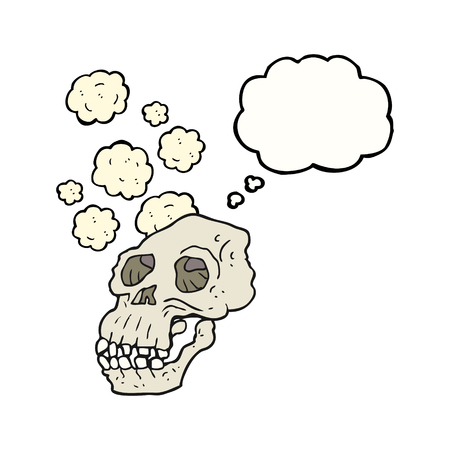 proto: freehand drawn thought bubble cartoon ancient skull