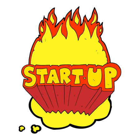 startup: freehand drawn thought bubble cartoon startup symbol Illustration