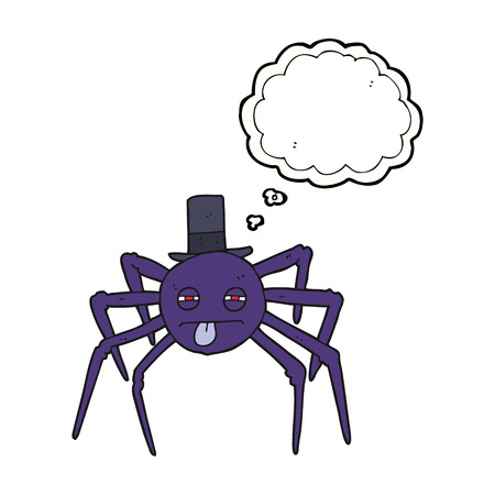 tarantula: freehand drawn thought bubble cartoon halloween spider in top hat