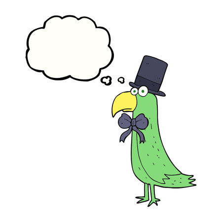 posh: freehand drawn thought bubble cartoon posh parrot Illustration