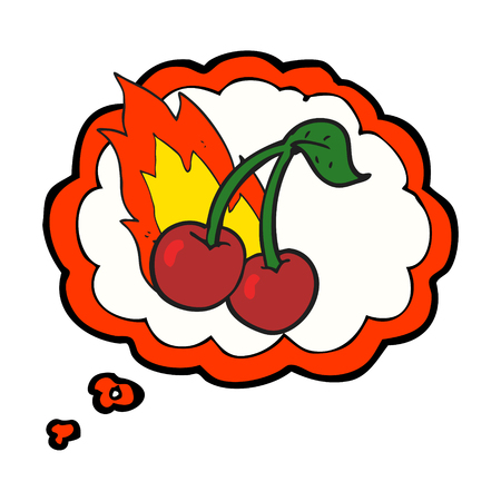 flaming: freehand drawn thought bubble cartoon flaming cherries Illustration