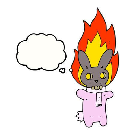 flaming: freehand drawn thought bubble cartoon flaming skull rabbit Illustration
