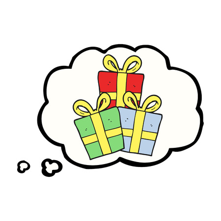 christmas gifts: freehand drawn thought bubble cartoon christmas gifts Illustration