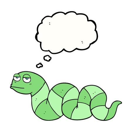 bored: freehand drawn thought bubble cartoon bored snake Illustration