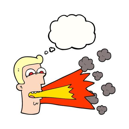 shouting: freehand drawn thought bubble cartoon shouting man Illustration