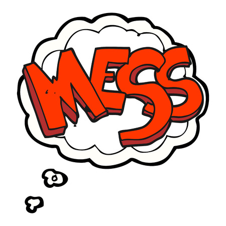 mess: freehand drawn thought bubble cartoon mess