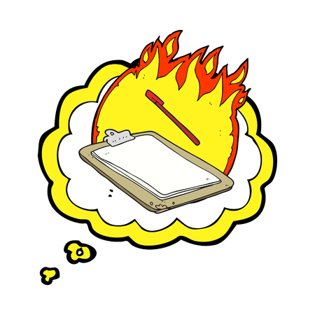 clip board: freehand drawn thought bubble cartoon clip board on fire