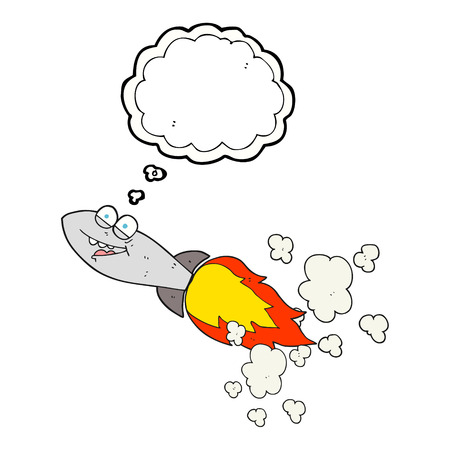 missile: freehand drawn thought bubble cartoon missile