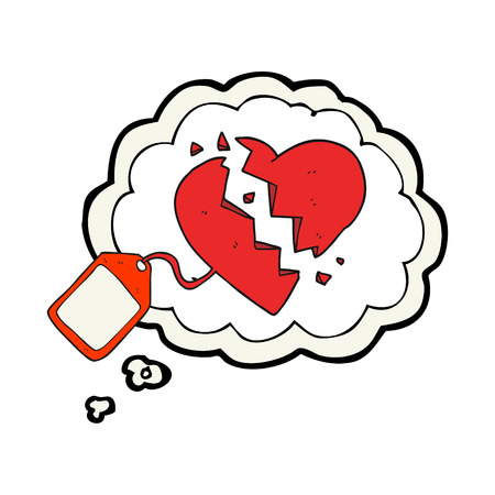 luggage tag: freehand drawn thought bubble cartoon luggage tag on broken heart