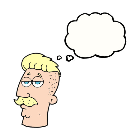 crazy hair: freehand drawn thought bubble cartoon man with hipster hair cut Illustration