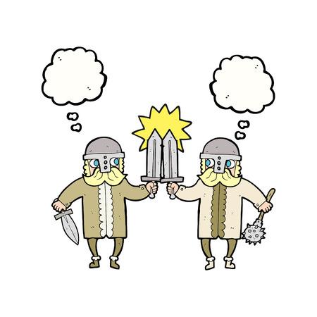 warriors: freehand drawn thought bubble cartoon viking warriors