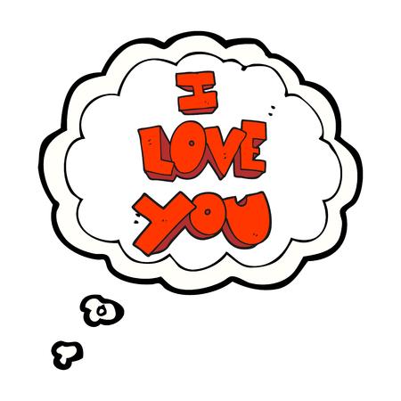 i love you symbol: I love you freehand drawn thought bubble cartoon symbol Illustration