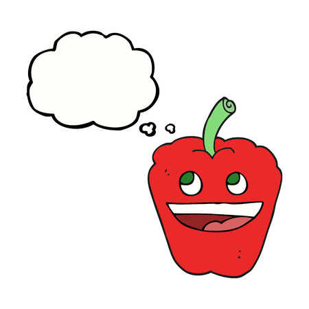 free illustration: freehand drawn thought bubble cartoon pepper Illustration