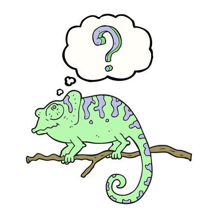 thought bubble: freehand drawn thought bubble cartoon curious chameleon Illustration