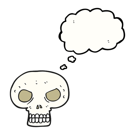 calavera caricatura: freehand drawn thought bubble cartoon skull