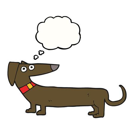 cartoon dog: freehand drawn thought bubble cartoon sausage dog