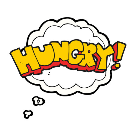 hungry: freehand drawn thought bubble cartoon hungry text